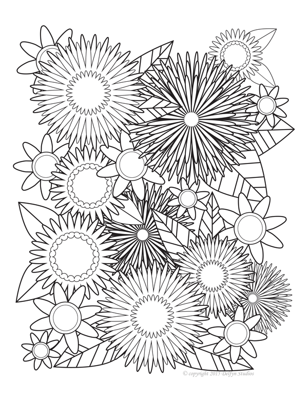 Symmetrical Blooms Adult Coloring Page Delfyn Studios